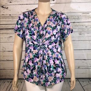 Daisy Fuentes 2X Floral Gathered Waist Blouse